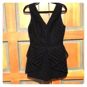 Adelson Rae Black M Romper Crochet Lace Overlay